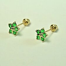 14k solid y/gold 6.5mm Emerald Star stud screw back gorgeouse earrings .60 tcw