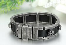 Vintage Punk Skull I Stainless Steel Link Leather Cuff Bracelet Biker Mens, 9.4""