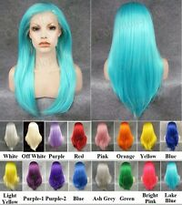 "24"" long straight front lace blue green yellow orange rose white synthetic wig"