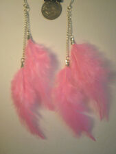 Pink FEATHER Earrings Feathers & Chains Rare NEW Real