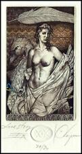 Kerin Hristo C3 Exlibris 2007 Leda and Swan Erotic Erotik Nude Woman Bird 67