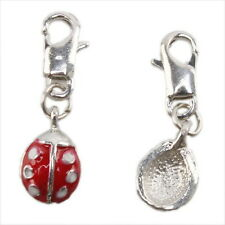 7x Ladybird Charms Lobster Clip On Beads Pendant 220009