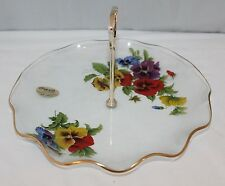 Chance Glass - Fluted Cake Plate/Stand - Pansies - Retro/Kitsch/Chintz - box/vgc