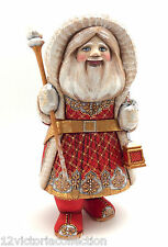 """12.5"""" SANTA Hand Carved Wood Hand Painted SIGNED Father Frost Russian"""