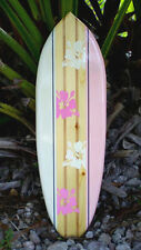 Pink Tropical Solid Wood Surfboard Original Wall Art New Beach Island Decor