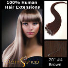 """20"""" STRAIGHT LOOP MICRO RING/BEAD 100% Human Remy Hair Extensions 50g #4 Brown"""