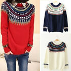 HOT Women's Round Neck Long Sleeve Knitted Pullover Jumper Sweater Knitwear Tops