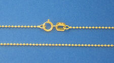 "14K Solid Yellow Gold 1mm Diamond Cut Ball / Bead Chain 24"" 2.3gr Italian Made"