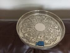 "LOVELY SILVER PLATED CIRCULAR GALLERY TRAY 10.25""   (VINER'S OF SHEFFIELD) TR92"