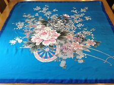 VINTAGE UNWORN? HAND ROLLED FLORAL SILK SCARF.  31 x 30 INCHES.  BEAUTIFUL!