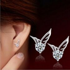 Silver Jewelry Angel Wings Crystal Ear Stud Earrings Exquisite women