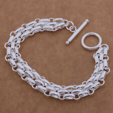 925 STERLING SILVER Chunky Hooped Link T-Bar Clasp Bracelet Ladies Women's Gift
