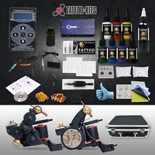 Professional Complete Tattoo Kit 2 LUO'S Top Machine Gun 8 Color Ink