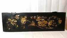 ANTIQUE 19c CHINESE WOOD  HANGING PANEL WITH CARVED RELIEF PIERCED GILT FLOWERS