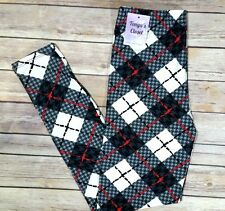 One Size Plaid Leggings Red Black White Printed OS Fits 2-10