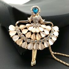Fashion Gold-plated Dancer Crystal pendant Long necklace Sweater chain JJ75