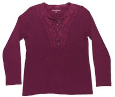 Eddie Bauer Thermal Henley Top Womens PL Petite Large Burgundy Purple Lace Shirt