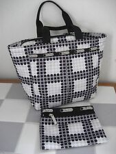 LE SPORTSAC 'Disco Print' 2004 Top Zipper Tote + Matching Pouch