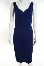 Tahari Blue Color Block Sleeveless Mid Length Sheath Shift Dress Size 10