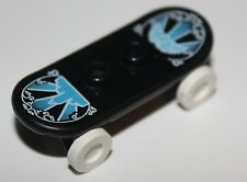 LeGo Minifig Utensil Skateboard w/ Trolley Wheel Holders Blue and White Pattern