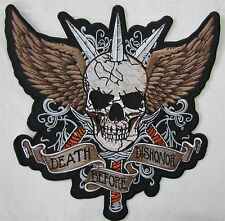 Large Death Before Dishonor Bike Motorcycle Biker Embroidered Sew On Badge Patch