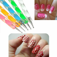 5 X 2 WAY DOTTING PEN MARBLIEZING TOOL NAIL ART TIP DOT PAINT MANICURE TOOL KIT