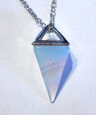 OPALITE PENDULUM NECKLACE moon stone crystal opalescent point charm pendant Q5