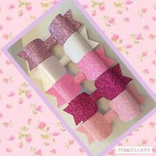 5 Piece Pink Mixed Glitter Fabric & Leatherette Hairbow Set Clip