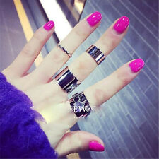 4PCS  Stainless Steel Stack Knuckle Ring Silver Women Jewelry Finger Ring