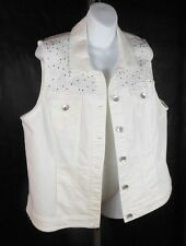 CJ BANKS white denim VEST size 14W X Bling yolk jeweled sleeveless plus top $54