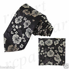 New Brand Q Men's Micro Fiber Neck Tie & Hankie Set Flowers White Black