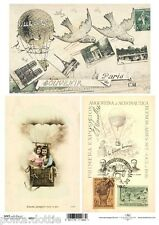 Soft Decoupage Paper Decopatch Sheet Vintage French Postcard Hot Air Balloon