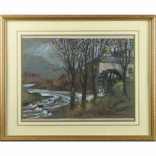 Signed Framed Original Mid Century Bristol Savage Watercolour Watermill Painting