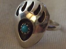 Native American Sterling Silver Navajo Turquoise Clip on Bear Paw Ring Size 4.75
