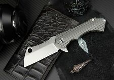 ToxiCut Field Cleaver Heavy Tactical Hunting Flipper Knife D2 Blade & Titanium
