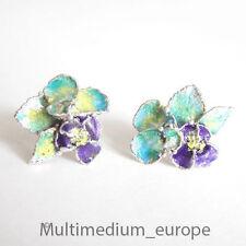 Designer Emaille Silber Ohrringe Ohr stecker blau enamel silver earrings blue