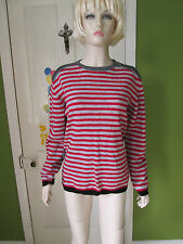 """Energie red & grey front black & grey striped back jumper 14 Years 38"""""""