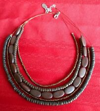 "Caracol Brown Beads Bronze Metal Beads 14"" Four Strands Necklace"