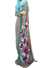 Women Abaya Kaftan Muslim Chiffon Maxi  Dress Islam Maxi Clothing Gray SIze M
