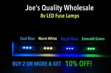 LOT OF(100)WARM WHITE/BLUE LED  FUSE LAMPS 8V-2270-STEREO TUNER METER/2325 4400