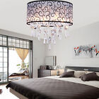 Modern Crystal Chandelier 4 Lights Flush Mount Lamp Lighting Fabric Shade CA&US