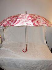 Vintage Cloth Umbrella or Parasol HATO HASI Japan Pink White EXCELLENT Cond