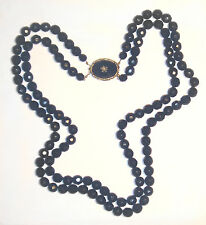 """LOVELY Antique VICTORIAN French Jet BLACK Double Strand BEAD NECKLACE 25.5"""""""
