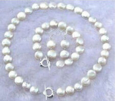 """11-12MM Natural White Coin Pearl Necklace Bracelet Earring Jewelry Set 18"""" 7.5"""""""