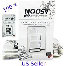 Bulk LOT 100pcs- IPHONE SAMSUNG LG NEXUS Noosy Nano Micro Sim Card Adapter 100 X