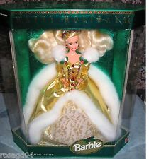 1994 Happy Holiday Barbie Doll Special Edition Golden Gown White Faux Fur NEW A1
