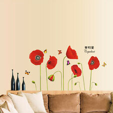Red Corn Poppy Flower Wall Stickers Art Decal Mural Room Paper Decor Removable