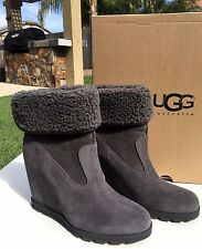 UGG Australia Kyra Water Resistant Wedge Ankle Boots 1009318 Sz 6 Granite NEW