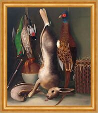 Still life with game William Buelow Gould Jagd Beute Vögel Hase Tod B A3 03486