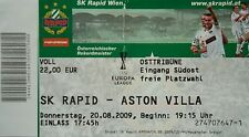 TICKET UEFA EL 2009/10 Rapid Wien - Aston Villa